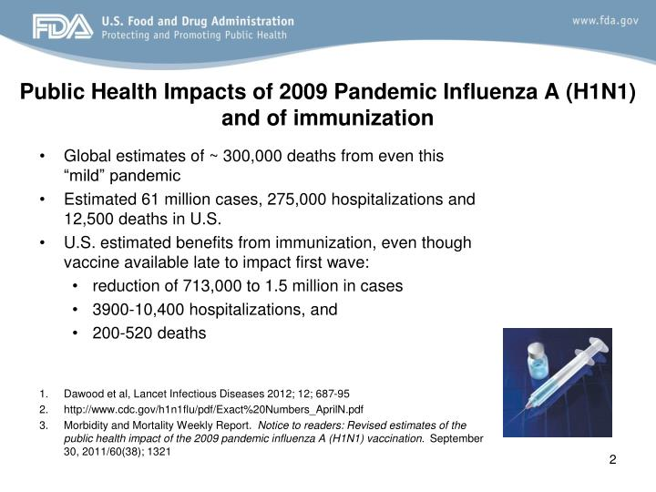 Public health impacts of 2009 pandemic influenza a h1n1 and of immunization