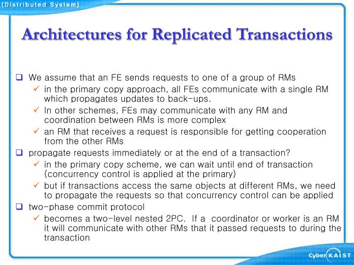 Architectures for Replicated Transactions