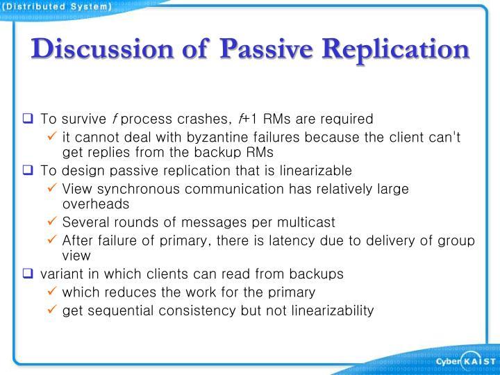 Discussion of Passive Replication