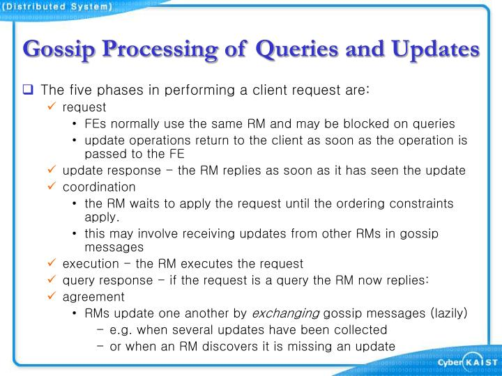 Gossip Processing of Queries and Updates