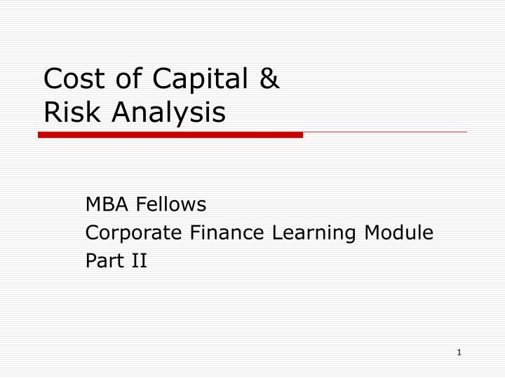 cost of capital risk analysis n.