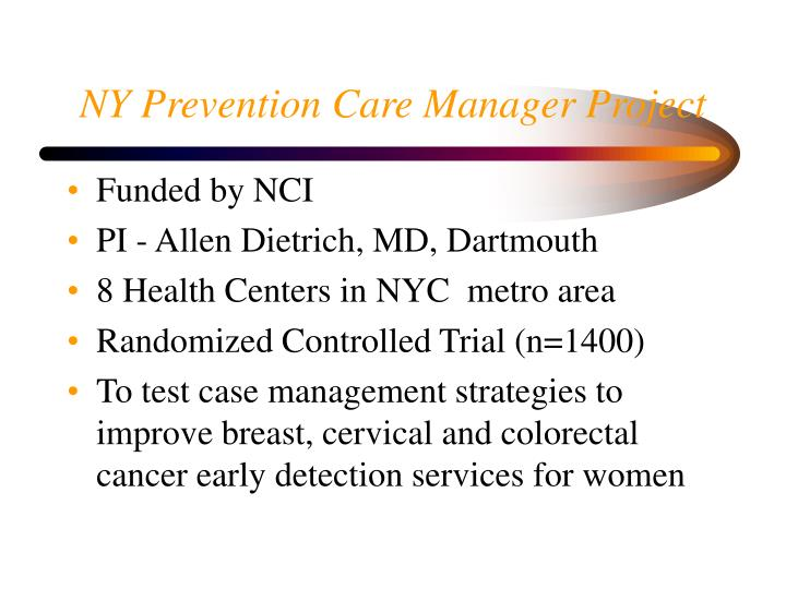 NY Prevention Care Manager Project
