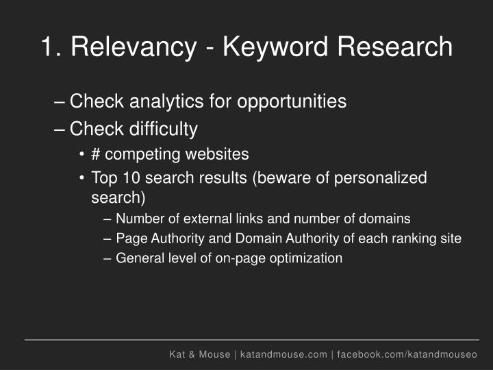 1. Relevancy - Keyword Research