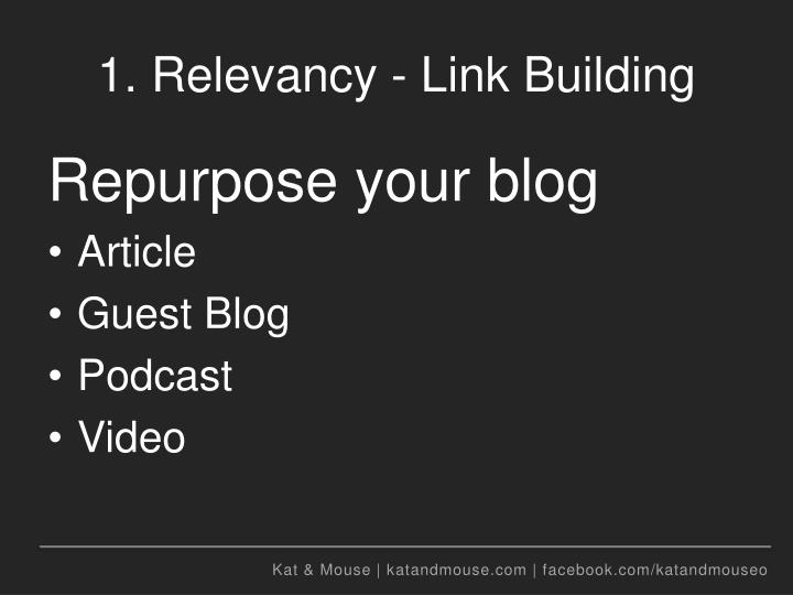 1. Relevancy - Link Building