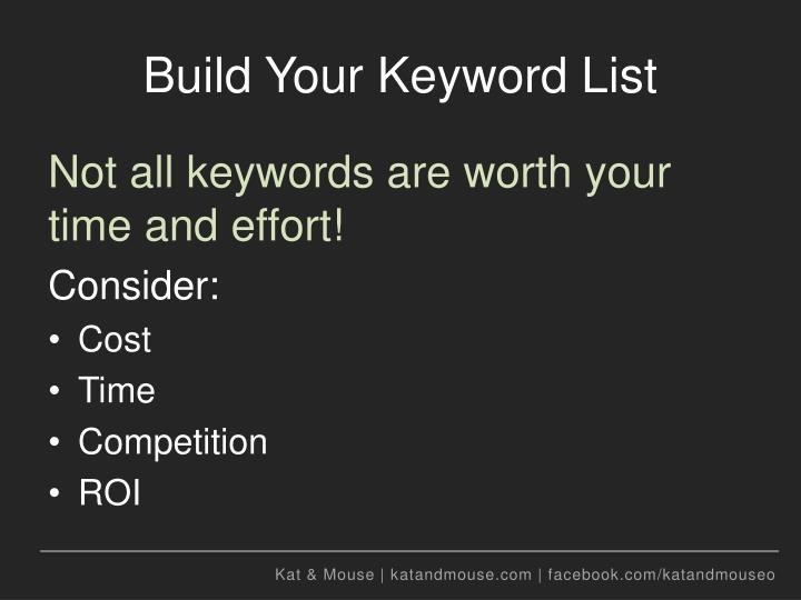 Build Your Keyword List