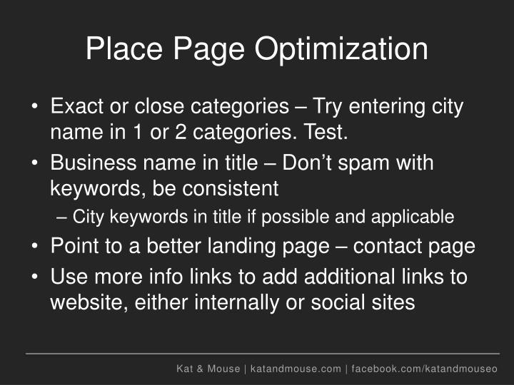 Place Page Optimization