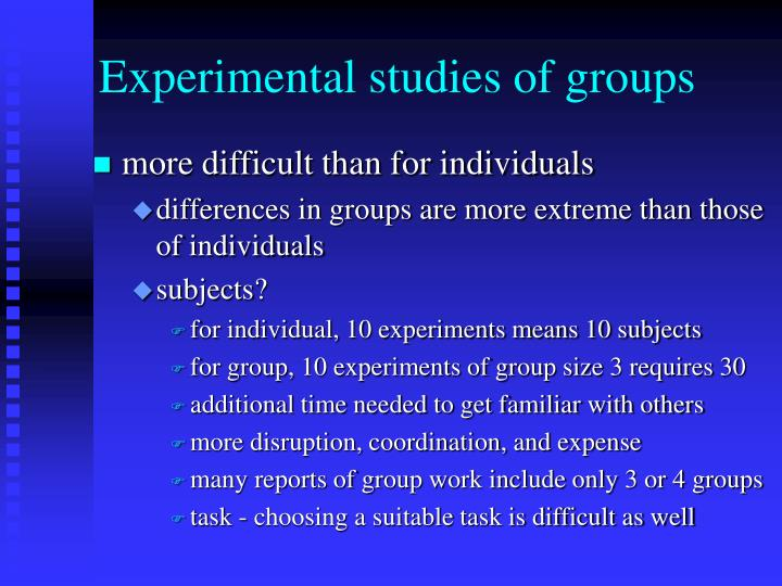Experimental studies of groups