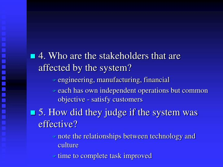 4. Who are the stakeholders that are  affected by the system?