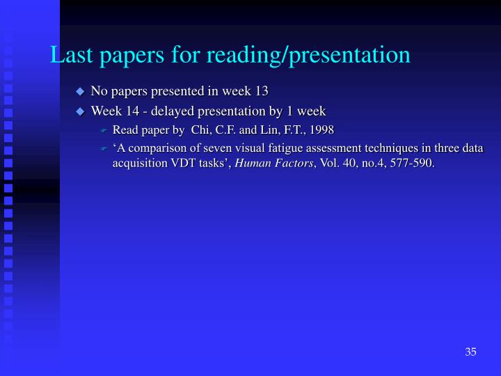 Last papers for reading/presentation