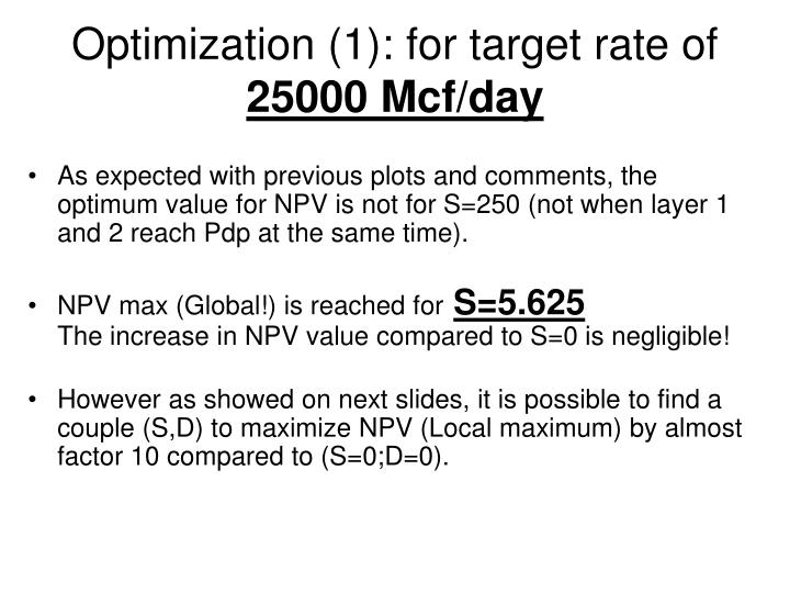 Optimization (1): for target rate of