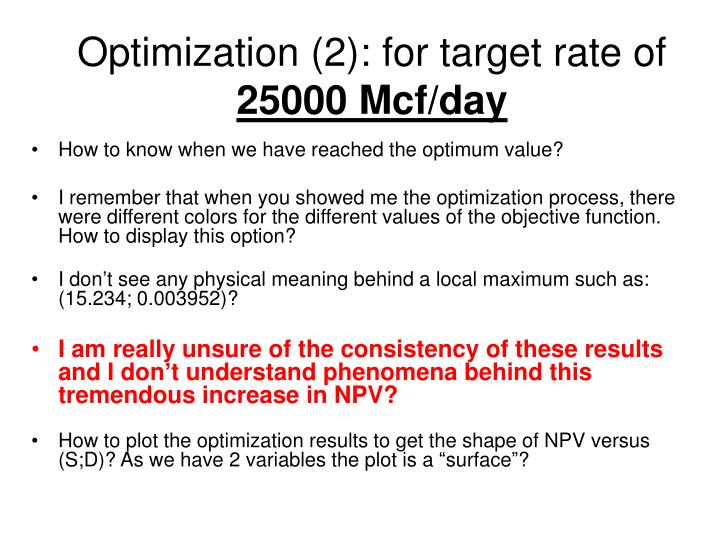 Optimization (2): for target rate of