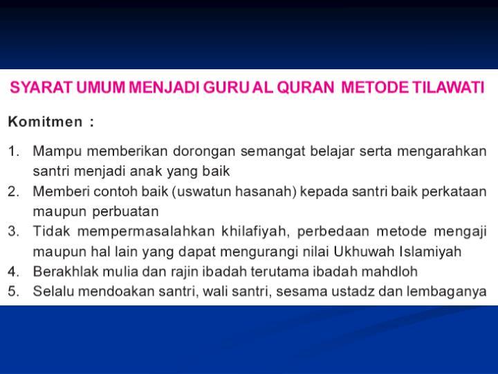 Tilawati metode praktis cepat tartil membaca al qur an