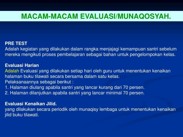 MACAM-MACAM EVALUASI/MUNAQOSYAH.