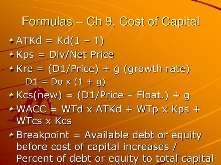 Formulas – Ch 9, Cost of Capital