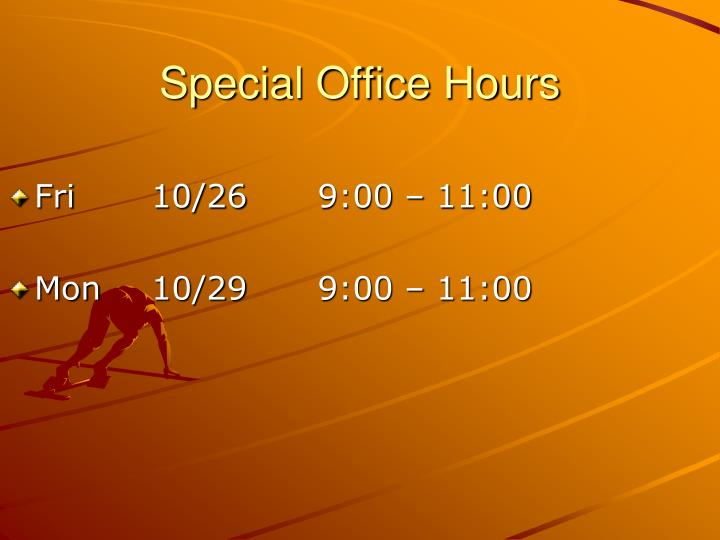 Special Office Hours
