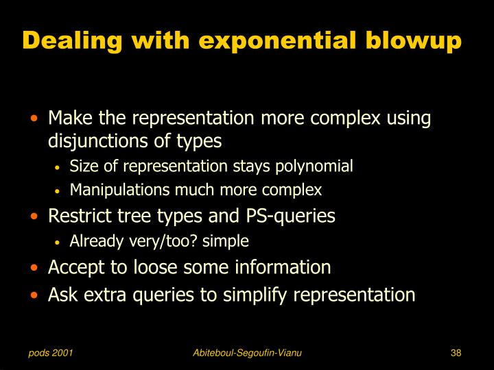 Dealing with exponential blowup