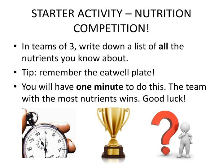 Starter activity nutrition competition