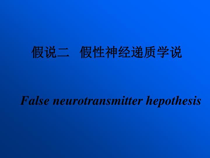 假说二   假性神经递质学说