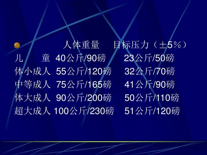 人体重量     目标压力(±5%)