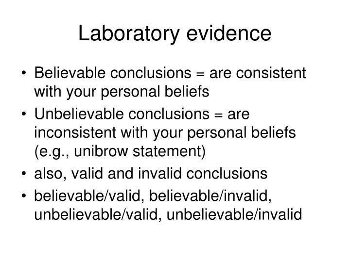Laboratory evidence