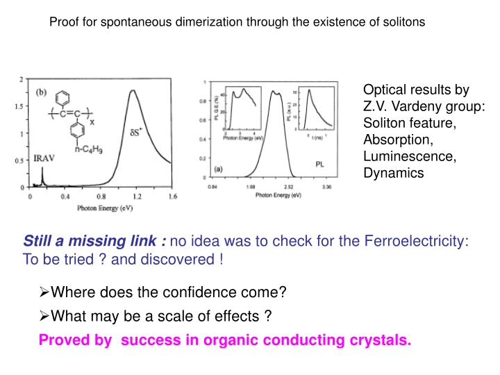 Proof for spontaneous dimerization through the existence of solitons