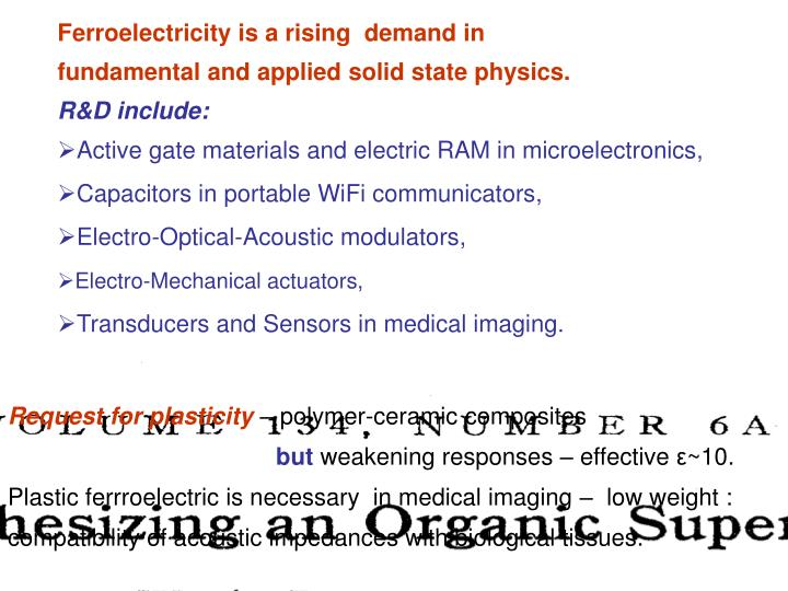 Ferroelectricity is a rising  demand in