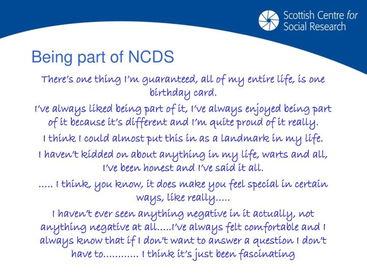 Being part of NCDS