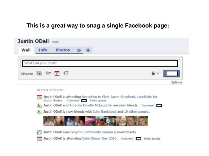 This is a great way to snag a single Facebook page