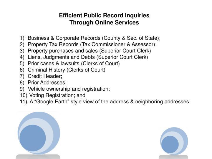 Efficient Public Record Inquiries