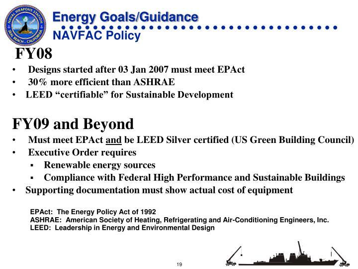Energy Goals/Guidance