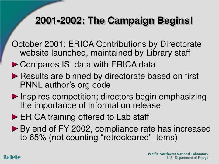 2001 2002 the campaign begins