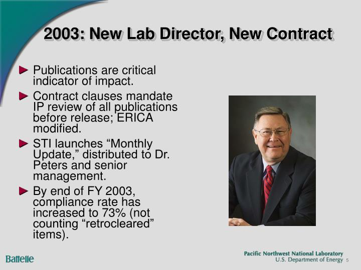 2003: New Lab Director, New Contract