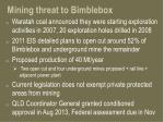 mining threat to bimblebox
