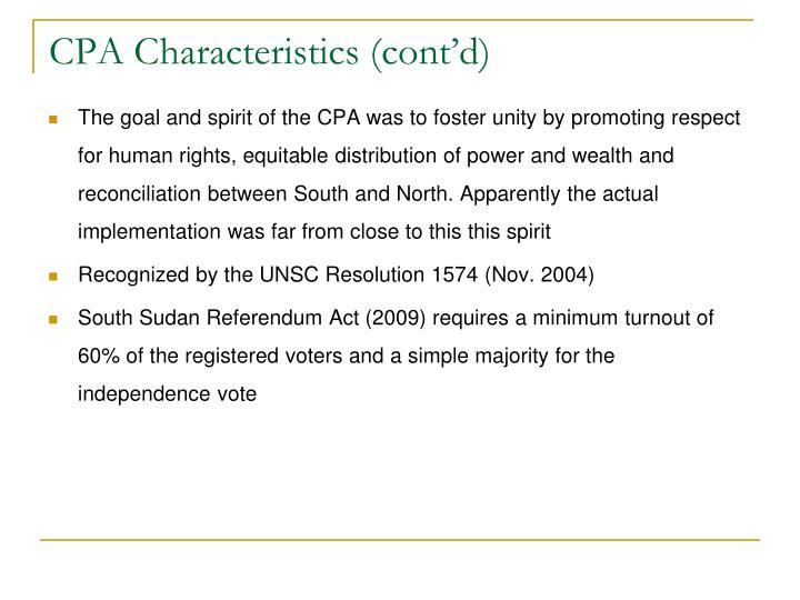 CPA Characteristics (cont'd)