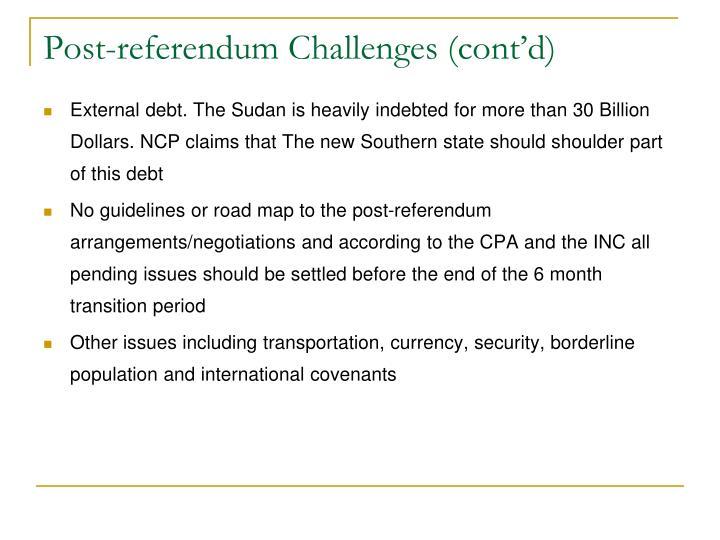 Post-referendum Challenges (cont'd)