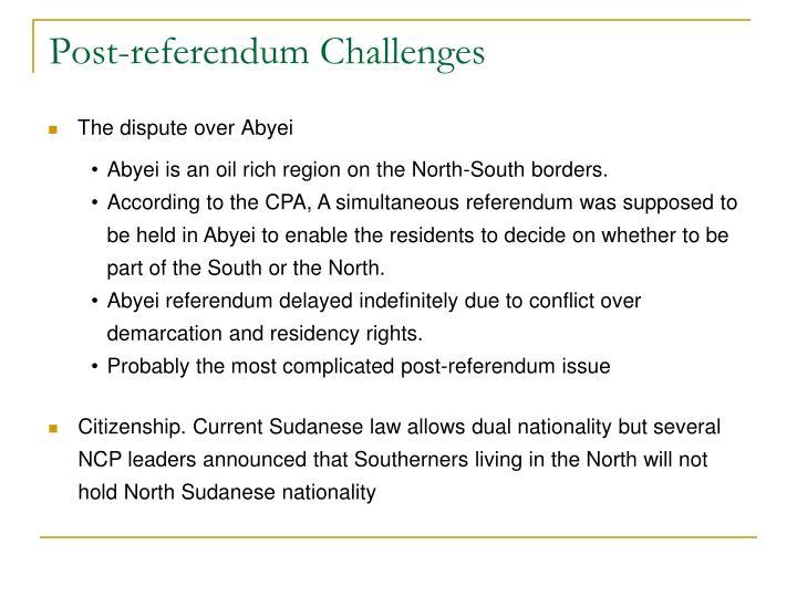 Post-referendum Challenges