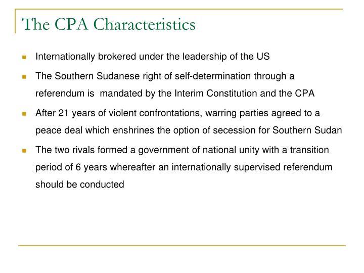 The CPA Characteristics