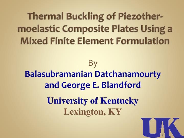 PPT - Thermal Buckling of Piezother-moelastic Composite