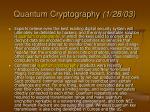 quantum cryptography 1 28 03
