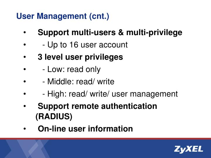 User Management (cnt.)