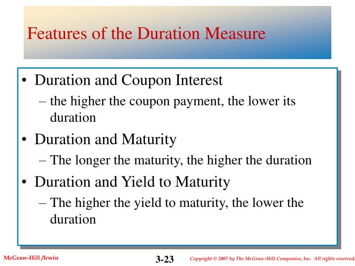 Features of the Duration Measure