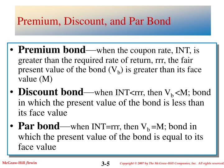 Premium, Discount, and Par Bond