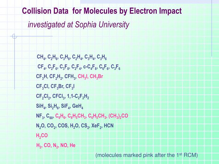 Collision Data  for Molecules by Electron Impact