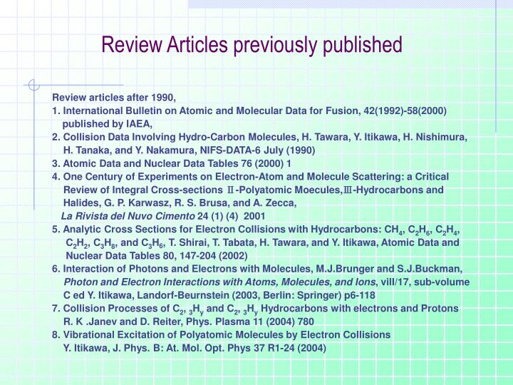 Review Articles previously published