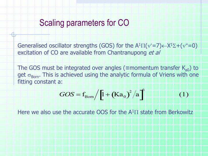 Scaling parameters for CO