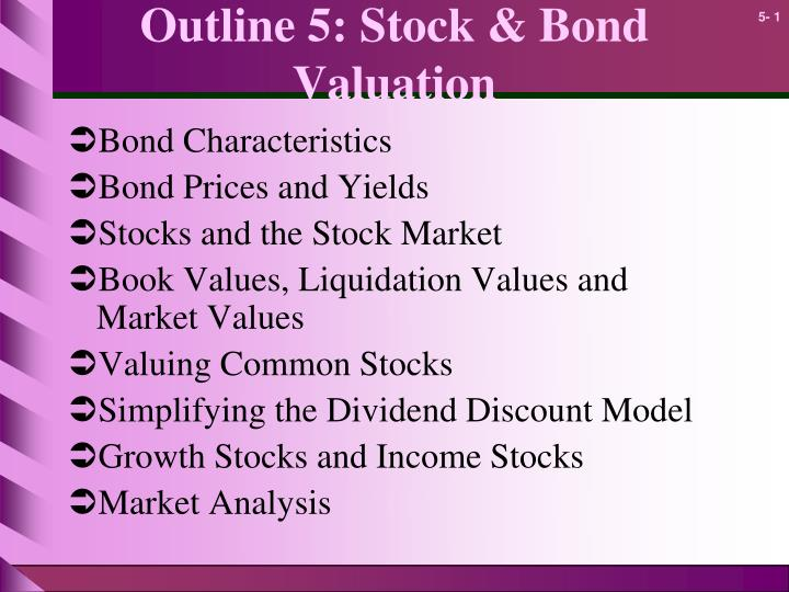 home products: stock and bond valuation essay Valuation (bonds and stock) the general concept of valuation is very simple—the current value of any asset is the present value of the future cash flows it is expected to generate it makes sense that you are willing to pay (invest) some amount today to receive future benefits (cash flows.