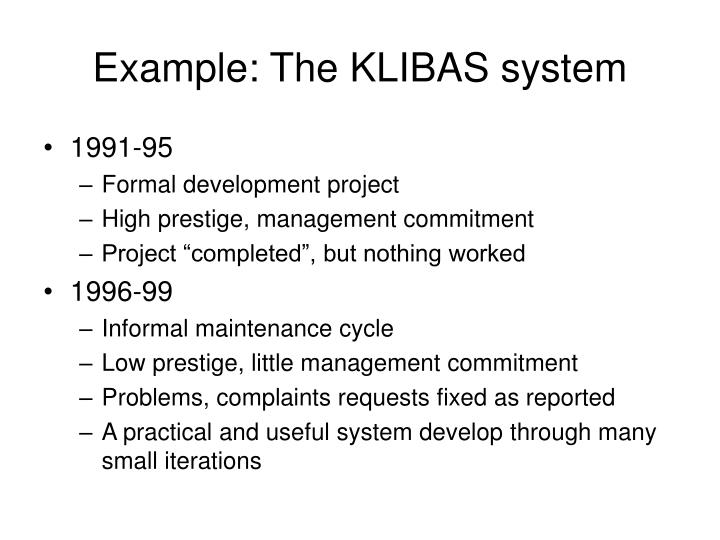 Example: The KLIBAS system