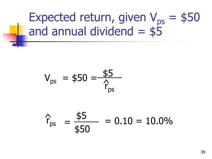 Expected return, given V