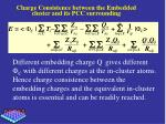 charge consistence between the embedded cluster and its pcc surrounding