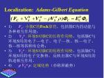 localization adams gilbert equation